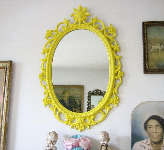 Yellow Ornate Wall Mirror